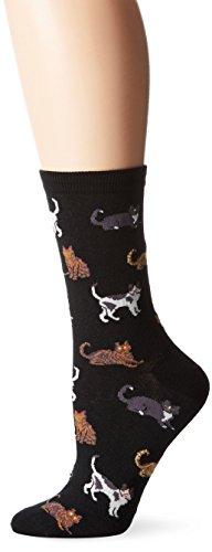 Hot Sox Women's Lover Novelty Casual Crew Socks, Cats (Black), Shoe Size: 4-10