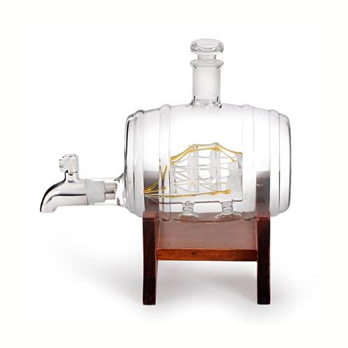 Barril de whisky Decantador, para Scotch Bourbon Cognac Ron Brandy Decoración Náutica, Barril de Whisky, Decoración de licor