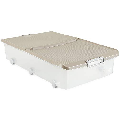 Tatay 1151123 Caja de Almacenamiento Multiusos Bajo Cama con Tapa y Ruedas, 63 l de Capacidad, Plástico Polipropileno Libre de BPA, Marrón, 45 x 78 x 18 cm