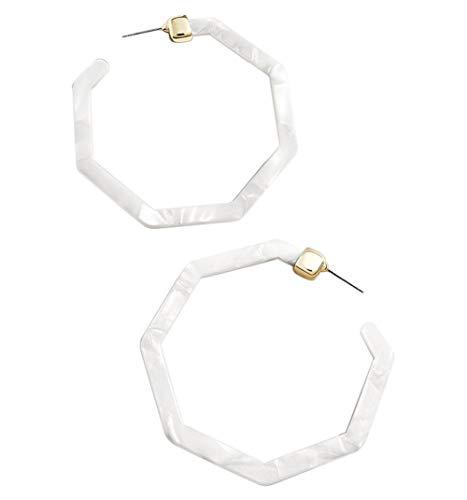 Gesprenkelt-Acryl-Geometrisch Creolen für Frauen Hexagon Gestüt-Böhmisch Statement Drop Harz-Ohrringe Weiß