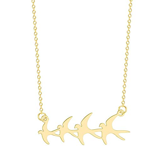 ZYLL Swallow Herd Bird Group Halskette Schlüsselbein Schmuck Europäische und amerikanische Edelstahl Halskette Frau