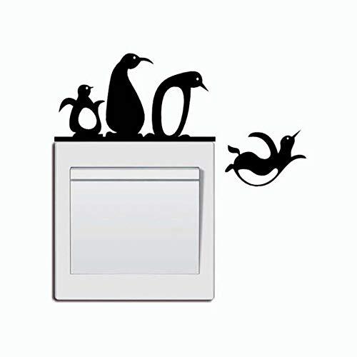 EPRHY Wandschalter-Aufkleber mit niedlichem Pinguin-Tier, Vinyl-Aufkleber für Badezimmer, Schlafzimmer, Kinderzimmer, Lichtschalter-Aufkleber, Panel-Dekoration, DIY