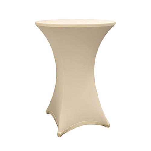 Lumaland hochwertige Stehtischhusse Tisch-Überzug Husse pflegeleicht abwischbar Stretch schnelltrocknend Ø 80-85cm Beige