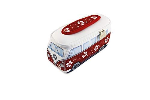 BRISA VW Collection - Volkswagen Samba Bus T1 Camper Van 3D Neoprene Small Universal Bag - Makeup, Travel, Cosmetic Bag (Neoprene/Hibiscus/Red)