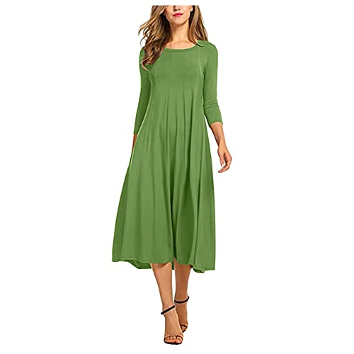 Summer/Fall Casual Women 2021 New Short Sleeve Round Neck A Line Fit and Flare Midi Skater Dress Solid Shirts Sundress Green