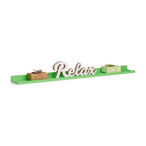 Relaxdays Hangrek smal, langwerpig zwevend rek voor de muur, wandboard zwevend, MDF, HxBxD: 3,5x80x10cm, groen