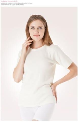 Underwear Shirt in Angora with Short Sleeve Black Tg. XL/XXL