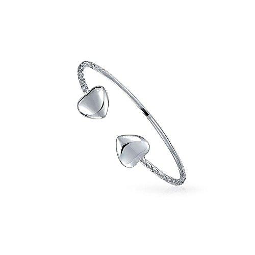 Boho Herz Tipps Stapelbare West Indian Bangles Twisted Kabel Armband Für Teen Für Frauen Kleine Handgelenk 925 Sterling Silber