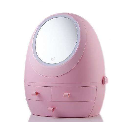 Messygo LED Spiegel Make Up Organizer Moderne Schmuck Und Schmink Aufbewahrung Mit 3 Schubladen USB Aufladbare Kosmetikablage Für Bad, Kommode, Waschtisch Und Theke,Rosa