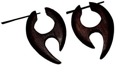 Krishna Mart India a Pair of African Tribal Ebony Handmade Organic Wood Big for Women Girls Ethnic Wooden Earrings Dangle Stick Coconut Loco Fake Fashion Jewelry Hippie Boho Gypsy Sew_735