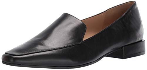 Naturalizer womens Clea Loafer Flat, Black Leather, 8.5 Narrow US