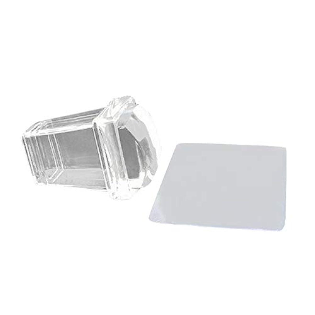 浅い興味薄めるNrpfell 新しい純粋で透明なゼリーシリコンのネイルアートスタンパーとスクレーパーのセット、透明ポリッシュ印刷ネイルのスタンピングツール、ネイルのツール、マニキュア