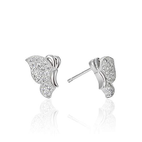 KnSam Pendientes para mujer de plata de ley 925, diseño de mariposa, pendientes de plata con circonitas