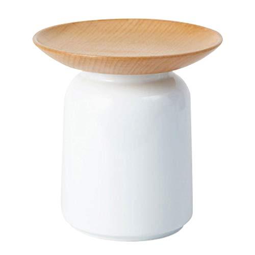 Tarro de cerámica, recipiente de almacenamiento de alimentos con bandeja de fruta seca de madera, tarro de almacenamiento de alimentos para café, azúcar, té, especias y más