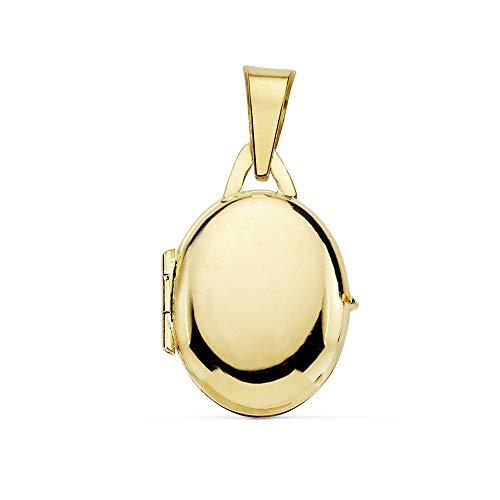 18k Ciondolo in oro PORTAFOTOS 18 millimetri. liscio medaglione ovale [AB9379]
