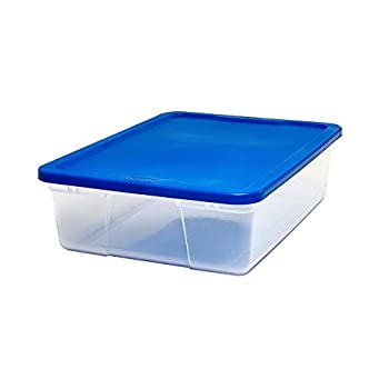 Homz Plastic Underbed Storage With Lid 28 Quart Clear Stackable 8-Pack