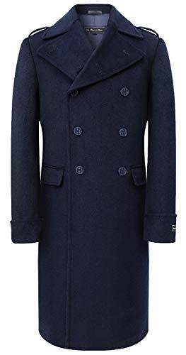 De Platinum Tailor Mens Navy Blauw Overjas Wol & Cashmere Grote Jas Lange Dubbele Borst Zware Warme Winter Cromby
