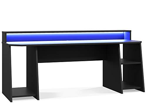 moebel-eins TEZO Big II Gaming Schreibtisch 200 cm, Material Dekorspanplatte, schwarz