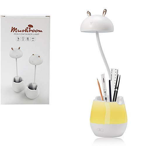 Lámpara de escritorio LED con puerto de carga USB, luz nocturna, lámpara de escritorio con atenuación continua, con soporte para bolígrafo y teléfono, adecuada para el hogar y la oficina
