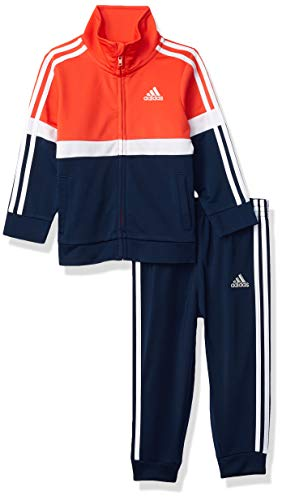 adidas Baby Boys' Li'l Sport Tricot Jacket & Jogger Clothing Set, Orange Red, 3 Months