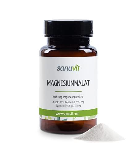 Sanuvit® - Magnesiummalat | Hohe Bioverfügbarkeit | Deckt zu 100 {c15639024b7d0fbe1e5d8434545326e979ac7f8edf2fd76784fc13ed7228dfe3} den Tagesbedarf an Magnesium | Magnesium Malate | Vegan | 120 Kapseln