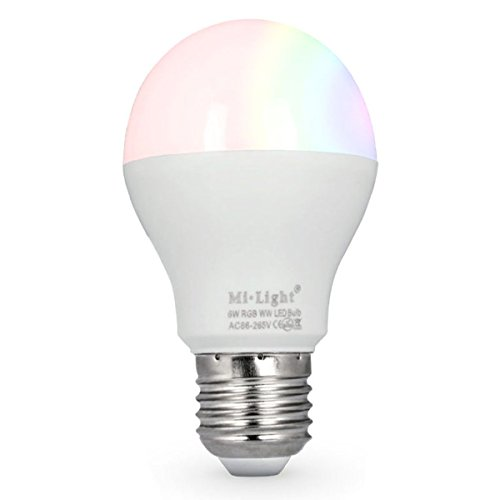 LIGHTEU®, 6W E27 Neues Design Milight drahtlose E27 6W 2.4G RF Fernbedienung RGBCCT LED Glühbirnen (Fernbedienung nicht enthalten), 550LM, fut014