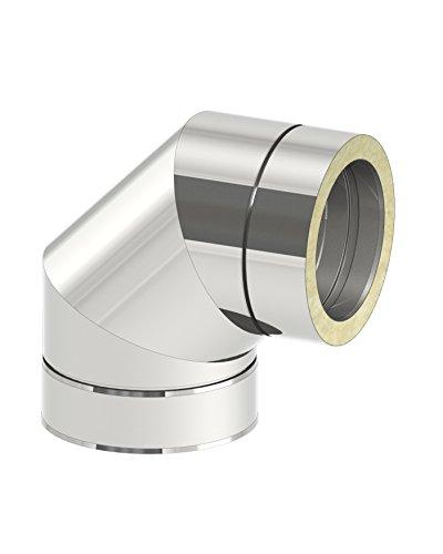 Schornstein - Winkel DW doppelwandig 90° starr, Innendurchmesser 150mm; Innen/Außen je 0,5 mm Wandstärke, Edelstahl