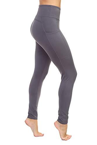 AEKO Yoga Power Flex Fit Laufhose Workout Leggings 4-Wege-Stretch für Damen - Grau - 44-46