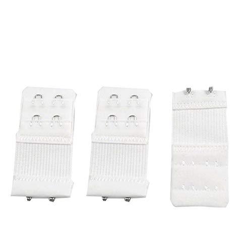 BH-Verlängerung, 2 Reihen, 2 Haken, elastisch, für Damen, Weiß, 7,6 x 3,2 cm, 2 Reihen, 2 Haken, Unterwäsche, elastisch, 3 Packungen