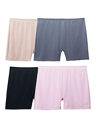 Fruit of the Loom Women's Fit for Me Plus Size Underwear, Slip Short-Microfiber-Assorted, 10