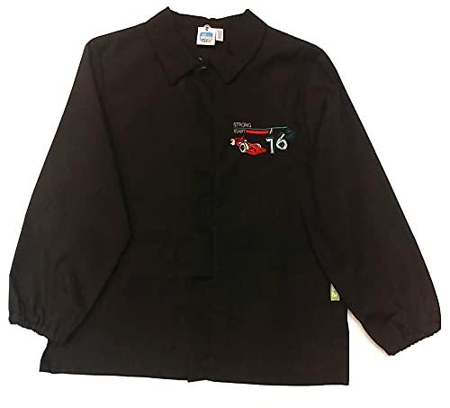 siggi Grembiule Bambino Nero Scuola Primaria, Ricamo Strong Start, Cotone Organico e Poliestere Riciclato (6 anni - 65-116 cm)
