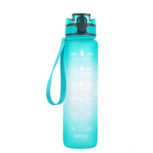 Taloit Botella deportiva con marcador de tiempo, 1000 ml, botella de agua esmerilada con tapa abatible de color degradado para espacios al aire libre, 32 onzas