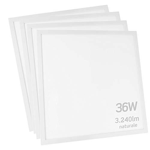 4x Pannelli LED 36W 60x60cm 3240 lumen - Luce Bianco Naturale 4000K - Fascio Luminoso 120°