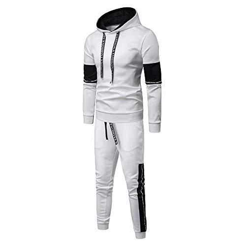 Aiserkly Herren Jogginganzug Trainingsanzug Sportanzug Fußball Sporthose Hoodie Hose für Gym Warm Tracksuit Herbst Winter Streatwear Weiß 2XL