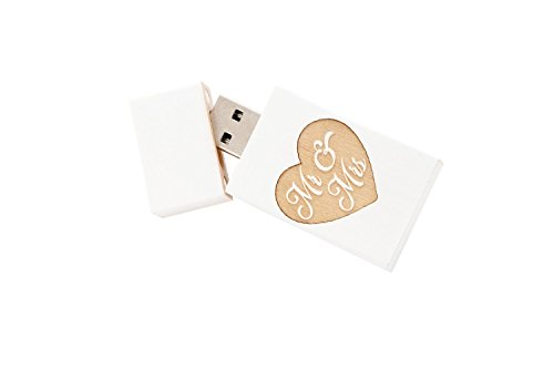 SameDayFlash 1 x 32 GB USB 30 White Washed Maple Drive 1 Stuck Grove Stick Body Mr Mrs Gravur
