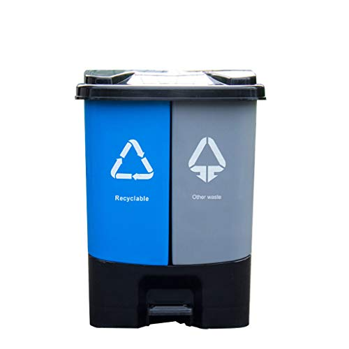 SHUTING2020 Bote Basura Oficina de Bote de Basura de Doble Compartimiento/Bote de Basura de plástico de...