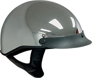 DOT Chrome Motorcycle Half Helmet with Visor (Size L, LG, Large)