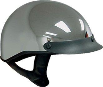 DOT Chrome Motorcycle Half Helmet with Visor (Size M, MD, Medium)