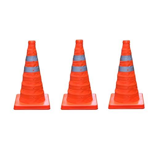 GBY Cono trafico 45cm Conos de tráfico Plegables Tres Advertencia de Seguridad...