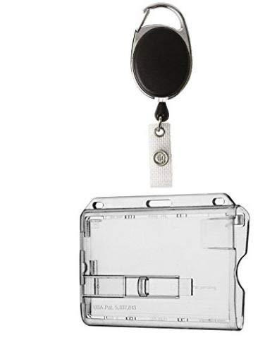 Ausweishalter mit Hardplastik Ausweishülle, Ausweis-JoJo mit Clip, einziehbare Spule und Karabiner