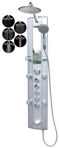 Duschpaneel Wanneneinlauf mit Thermostat Silber Regendusche mit 5 Massagedüsen Duschbrause Eckmontage und Wandmontage