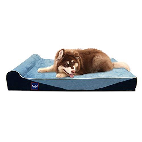 Laifug Cama ortopédica de espuma viscoelástica para perros con forro duradero a prueba de agua y funda extraíble lavable (grande...