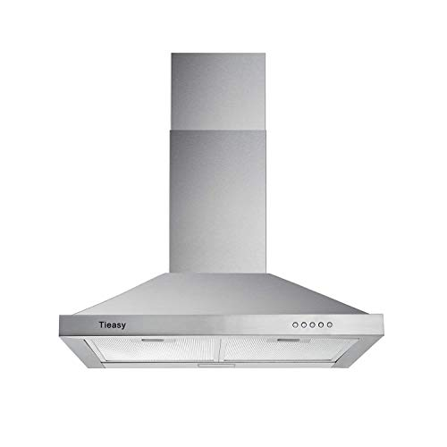 Wall Mount Range Hood 30 inch with Ducted/Ductless Convertible Duct, Stainless Steel Chimney-Style Over Stove Vent Hood with LED Light, 3 Speed Exhaust Fan, 450 CFM, Tieasy