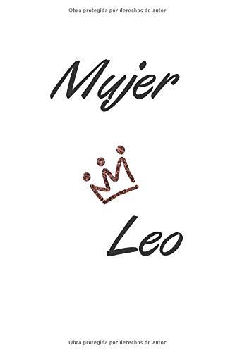 Mujer leo: Bonito regalo para mujeres y niñas de signo del zodiaco leo Cubierta brillantina corona Cuaderno para cumpleaños rayado (6x9-120 paginas)