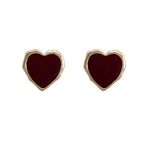 Xi-Link S925 Silver Aguja Retro Vino Pendientes De Amor Rojo New Peach Heart (Color : Ear Clip)