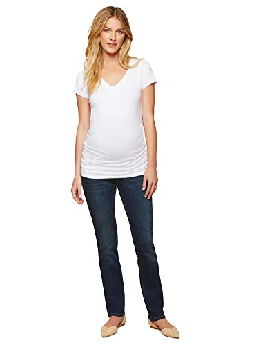 Motherhood Maternity Women's Maternity Indigo Blue Stretch Secret Fit Belly Straight Jean, Dark wash, Extra Large