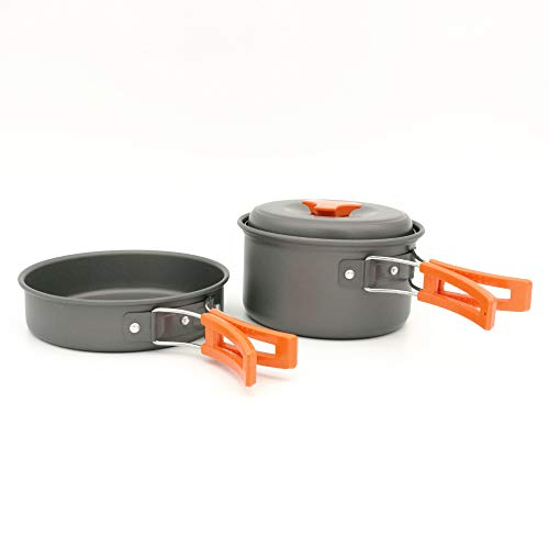 LFYPSM Outdoor Portable Camping Cookware 1-2 People Picnic Barbecue Pot Utensils,Red
