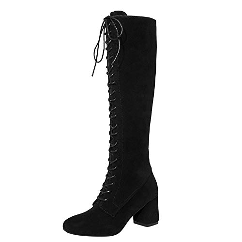 Ansenesna Stiefel Damen Mit Absatz Kniehoch Veloursleder Zum Schnüren Elegant Schuhe Mode Vintage Boots Für Frauen Mädchen (39, Schwarz)