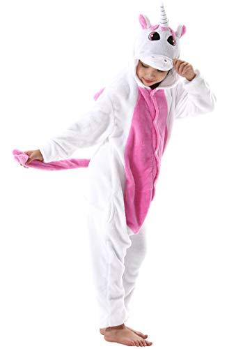 Jumpsuit Onesie Tier Fasching Karneval Halloween Kostüm Kinder Mädchen Junge Sleepsuit Overall Pyjama Unisex Lounge Cosplay Schlafanzug Rose Rot Einhorn for Höhe 90-148CM