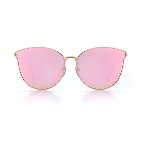 Zonnebril bril vierkante frame gepolariseerde zonnebril vrouwen outdoor reizen bril mode klassieke grote frame rijden spiegel gouden frame roze spiegel koper